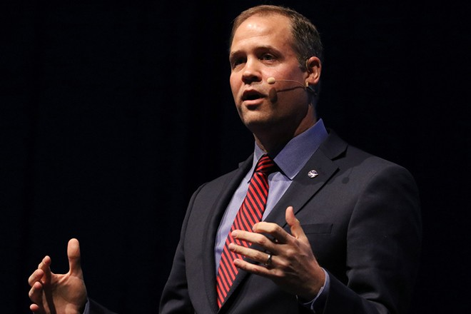 epa07061433 The Administrator of the National Aeronautics and Space Administration NASA, Jim Bridenstine, delivers a speech at an event on the opening day of the International Astronautical Congress IAC in Bremen, northern Germany, 01 October 2018. More than 6,000 scientists and space experts meet for the 69th edition of one of the world's biggest space-related congresses which runs until 05 October.  EPA/FOCKE STRANGMANN