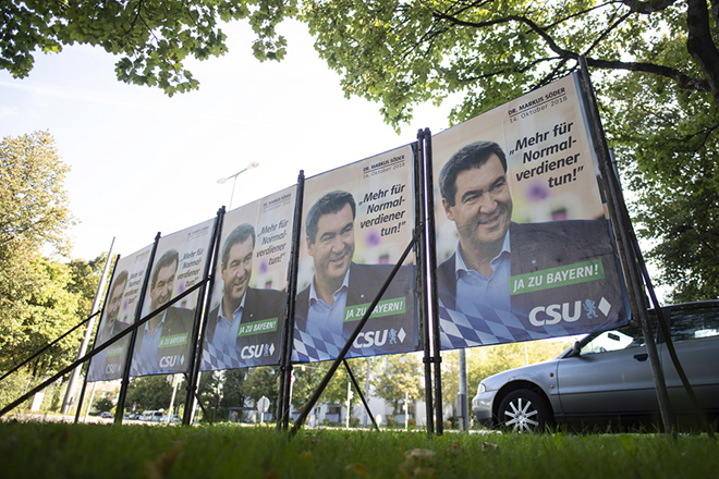 epa07036939 An election poster of the Christian Social Union (CSU)  is seen in Munich, Bavaria, Germany, 21 September 2018. The approximately 9.5 million Bavarian voters are called upon to elect a new state parliament on October 14.  EPA/LUKAS BARTH-TUTTAS