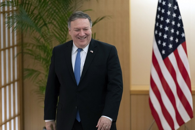 epa07073465 United States Secretary of State Mike Pompeo at the Foreign Ministry in Tokyo, Japan, 06 October 2018. Pompeo has arrived in Tokyo for talks with Japanese officials ahead of his trip to North Korea.  EPA/DELETREE/SIPA