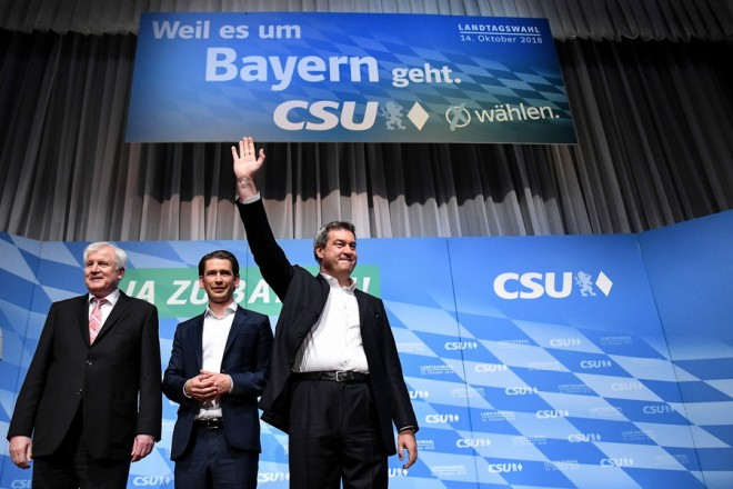 epa07088821 Bavaria's state Prime Minister and Christian Social Union (CSU) lead candidate Markus Soeder (R), German Minister of Interior, Austrian Chancellor Sebastian Kurz (C) and Construction and Homeland Horst Seehofer (L) greet the audience during an election campaign rally in Munich, Bavaria, Germany, 12 October 2018. The approximately 9.5 million Bavarian voters have been called upon to elect a new state parliament on 14 October.  EPA/PHILIPP GUELLAND