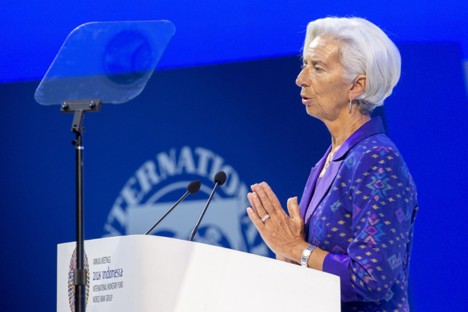 epa07087242 International Monetary Fund (IMF) Managing Director Christine Lagarde delivers a speech during the plenary session at the International Monetary Fund (IMF) and World Bank annual meeting in Nusadua, Bali, Indonesia, 12 October 2018. Bali is hosting the IMF-World Bank annual meeting from 08 to 14 October 2018.  EPA/MADE NAGI
