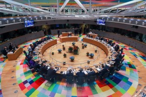 epa07101681 A general view of the room of the European Council summit in Brussels, Belgium, 18 October 2018. The European Council will focus on migration and internal security and also It will be followed by the Euro Summit in an inclusive format.  EPA/STEPHANIE LECOCQ