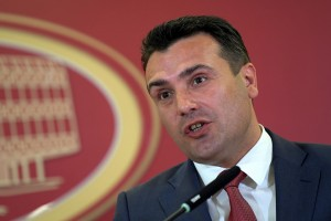 epa06745021 Macedonian Prime Minister Zoran Zaev speaks during the press conference with British Prime Minister Theresa May (not pictured) in Skopje, The Former Yugoslav Republic of Macedonia (FYROM), 17 April 2018. Theresa May following a two-day EU summit in Sofia, Bulgaria, arrived for an official visit to FYROM.  EPA/GEORGI LICOVSKI