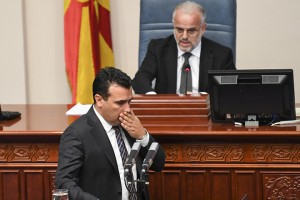 epa07094458 Macedonian Prime Minister Zoran Zaev  addresses members of the parliament at the beginning of the parliamentary session on changing the state's constitution in Skopje, The Former Yugoslav Republic of Macedonia (FYROM), 15 October 2018. After the referendum held on September 30, the FYROM government submits a proposal to the parliament for the change of the state's constitution, to change the country's name to 'Republic of Northern Macedonia' to endorse a name deal between FYR of Macedonia and Greece and to qualify for NATO membership. It is necessary to have two third majority, (80 members of the parliament) to change the constitution of the state.  EPA/GEORGI LICOVSKI