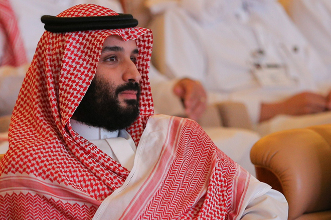 epa07113671 Saudi Crown Prince Mohammed bin Salman attends a session at the Saudi Arabia's investment conference, in Riyadh, Saudi Arabia, 23 October 2018. Saudi Arabia on 23 October opened the three-day Future Investment Initiative conference that has seen major pull-outs from global political and business figures following the disappearance of Saudi journalist Jamal Khashoggi after he entered the Saudi consulate in Istanbul on 02 October and later acknowledgement he died inside the kingdom's consulate.  EPA/FARES GHAITH