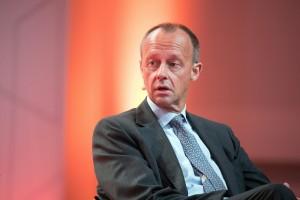 epa06980402 Chairman of BlackRock Germany Friedrich Merz speaks during Handelsblatt annual conference 'Banks in Transition' held in Frankfurt Main, Germany, 29 August 2018.  EPA/ARMANDO BABANI