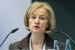 epa05010125 President of the Supervisory Council at the ECB, Daniele Nouy, speaks at the '2015 Forum on Banking Supervision' in the European Central Bank (ECB) headquarters in Frankfurt am Main,Germany, 04 November 2015.  EPA/FRANKRUMPENHORST