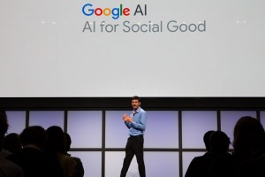 epa07130252 Jay Yagnik, Vice President and Engineering Fellow at Google AI, speaks at Google's AI for Social Good event in Sunnyvale, California, USA, 29 October 2018.  EPA/ELIJAH NOUVELAGE