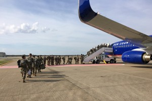 epa07134207 A handout photo made available by the Defense Video & Imagery Distribution System (DVIDS) shows Personnel and equipment prepare for departure from Fort Campbell, Kentucky, USA, 30 October 2018 (issued 31 October 2018), in support of Operation Faithful Patriot. As directed by the Department of Defense through Army headquarters, the 101st Airborne Division (Air Assault) and Fort Campbell are deploying Soldiers, equipment and resources to assist Department of Homeland Security along the southwest border. Military personnel will provide a range of support including planning assistance, engineering support, and logistics and transportation support. U.S. Northern Command will be in the lead for the duration of the operation and is in support of Customs and Border Protection.  EPA/Maj. Martin Meiners / DVIDS HANDOUT  HANDOUT EDITORIAL USE ONLY/NO SALES