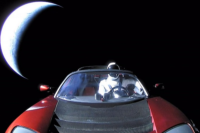 epa06506016 A handout photo made available by SpaceX on 08 Ferbuary 2018 shows a Tesla Roadster car in space after being launched with the SpaceX Falcon Heavy rocket, 06 February 2018. SpaceX, founded by Elon Musk, launched its Falcon Heavy rocket, the most powerful rocket in the world. As part of its payload the Falcon Heavy is carrying Musk's cherry red Roadster from Tesla, his electric car company.  EPA/SPACEX /  HANDOUT  HANDOUT EDITORIAL USE ONLY/NO SALES