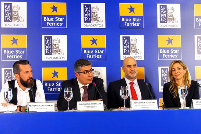 """Ο Λευτέρης Κουκιανάκης ΕΚΕΦΕ """"Δημόκριτος"""" (Α), ο Σπυρίδων Πασχάλης ΔΣ Attica Group (2Α) και ο Γεώργιος Νούνεσης Διευθυντής ΕΚΕΦΕ """"Δημόκριτος"""" (2Δ) παρουσιάζουν τη δράση science on board  κατά τη διάρκεια συνέντευξης Τύπου της Blue Star Ferries και του ιδρύματος έρευνας """"Δημόκριτος"""", την Τετάρτη 7 νοεμβρίου 2018, στο πλοίο Blue Star 2 στο λιμάνι του Πειραιά.. ΑΠΕ- ΜΠΕ/ΑΠΕ- ΜΠΕ/Γεώργιος Χριστάκης"""