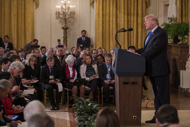 jim acosta epa07148625 US President Donald J. Trump speaks at a press conference in the East Room of the White House in Washington, DC, USA, 07 November 2018. Republicans expanded their majority in the Senate, but lost their majority in the House.  EPA/ERIK S. LESSER