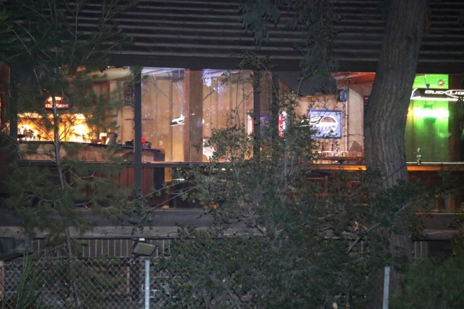 epa07150481 Exterior view of the Borderline Bar and Grill in Thousand Oaks, California, USA, 08 November 2018 where 13 people were killed. A sheriff's deputy, 12 attendees and the gunmen were killed.  EPA/MIKE NELSON