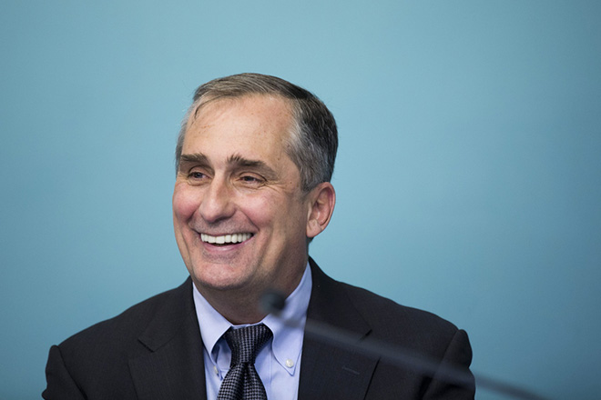 epa06827548 (FILE) - Intel CEO Brian Krzanich attends a press conference at the Prime Minister's Office in Jerusalem, 14 March 2017 (reissued 21 June 2018). According to a statement by Intel, Krzanich has stepped down from his post as CEO over an alleged relationship with an employee.  EPA/ABIR SULTAN