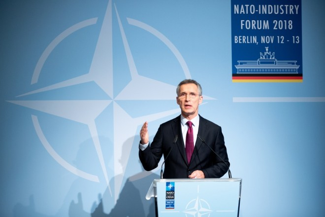 epa07161966 NATO Secretary General Jens Stoltenberg speaks during the NATO-Industry Forum in Berlin, Germany, 13 November 2018. The NATO-Industry Forum 2018 takes place in the German capital from 12 to 13 November.  EPA/HAYOUNG JEON