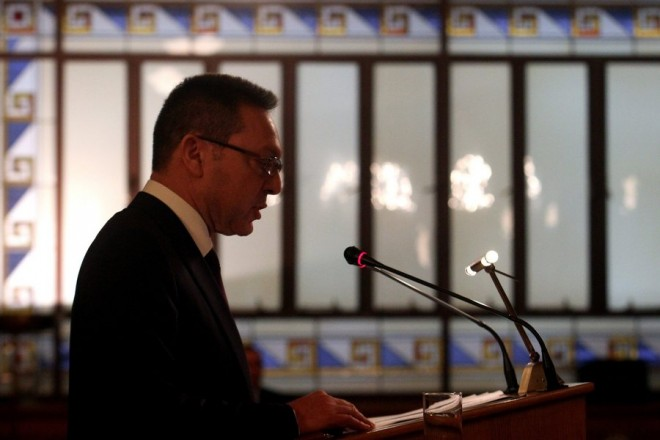 epa04638245 Former Finance Minister and Governor of the Bank of Greece Yannis Stournaras speaks during the annual general assembly of the Bank of Greece, in Athens, Greece, 26 February 2015. Greece needs to make progress in the implementation of pending reforms, while a new agreement between the country and its partners is a necessary precondition for the continuation and strengthening of an economic recovery currently underway, the Bank of Greece said in its annual report.  EPA/ALEXANDROS VLACHOS