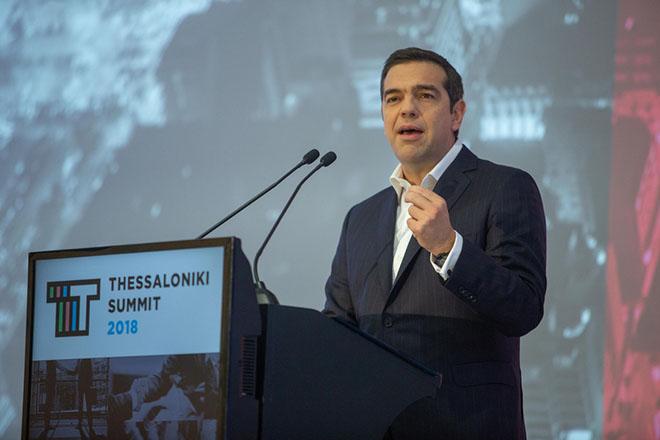 Ο πρωθυπουργός Αλέξης Τσίπρας κατα την διάρκεια της ομιλίας του  στο 3o Thessaloniki Summit που διοργανώνει ο Σύνδεσμος Βιομηχανιών Βορείου Ελλάδος στο Συνεδριακό Κέντρο Ιωάννης Βελλίδης με στόχο την  ανάδειξη των προοπτικών του οικονομικού και επιχειρηματικού περιβάλλοντος, των χωρών των Δυτικών Βαλκανίων και της χώρας μας, την Πέμπτη 15 Νοεμβρίου 2018. ΑΠΕ-ΜΠΕ/ΑΠΕ-ΜΠΕ/ΝΙΚΟΣ ΑΡΒΑΝΙΤΙΔΗΣ