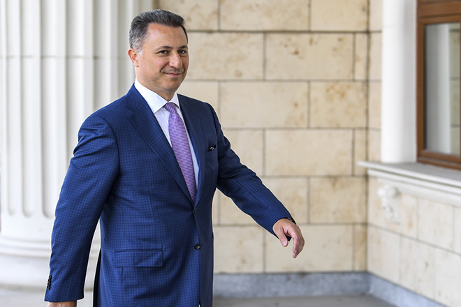 epa07071799 FYR of Macedonia ex-prime minister Nikola Gruevski arrives in the court in Skopje, The Former Yugoslav Republic of Macedonia on 05 October 2018. The Skopje Court of Appeal has confirmed the two-year prison term for the ex- prime minister, Nikola Gruevski, for abuse in the procurement of the bulletproof Mercedes of 600,000 euros. According to the Special Public Prosecutor's Office, Gruevski's crime in the 'Tenk' case is obsolete at the end of October, so the verdict is in the legally stipulated deadline.  EPA/GEORGI LICOVSKI