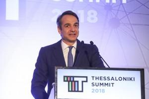 Ο πρόεδρος της Νέας Δημοκρατίας Κυριάκος Μητσοτάκης κατά την διάρκεια της ομιλίας του στην 3η σύνοδο Thessaloniki Summiti 2018  που διεξάγετε στο Βελλίδειο συνεδριακό κέντρο, Θεσσαλονίκη, Παρασκευή 16 Νοεμβρίου 2018. ΑΠΕ ΜΠΕ/PIXEL