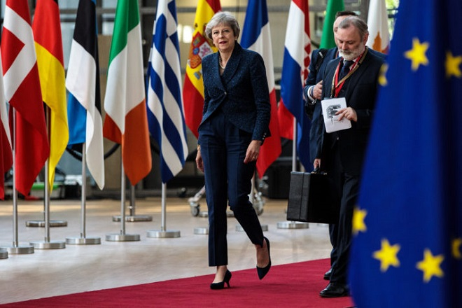 BRUSSELS, BELGIUM - JUNE 28: British Prime Minister Theresa May arrives at the Council of the European Union on the first day of the European Council leaders' summit on June 28, 2018 in Brussels, Belgium. The European Council is meeting for two days to discuss issues related to Brexit and immigration. (Photo by Jack Taylor/Getty Images)