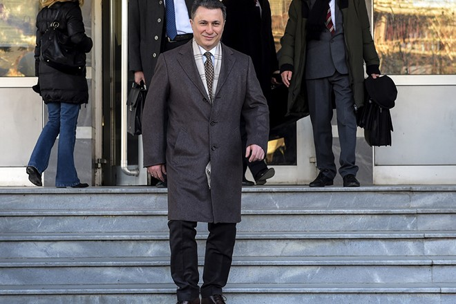 epa06757391 (FILE) Former Macedonian Prime Minister and leader of opposition VMRO DPMNE, Nikola Gruevski leaves the court in Skopje, The Former Yugoslav Republic of Macedonia, 06 December 2017 (reissued 23 May 2018). According to reports on 23 May 2018 former Prime Minister Nikola Gruevski was sentenced by Skopje's Criminal Court to two years in prison for illegaly allocation budget funds and purchasing a 600,000-euro luxury Mercedes-Benz car.  EPA/GEORGI LICOVSKI