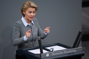 epa07181488 German Defense Minister Ursula von der Leyen delivers a speech during a session of the German parliament 'Bundestag' in Berlin, Germany, 21 November 2018. Members of the German Bundestag gathered to discuss the budget 2019 among other topics.  EPA/HAYOUNG JEON