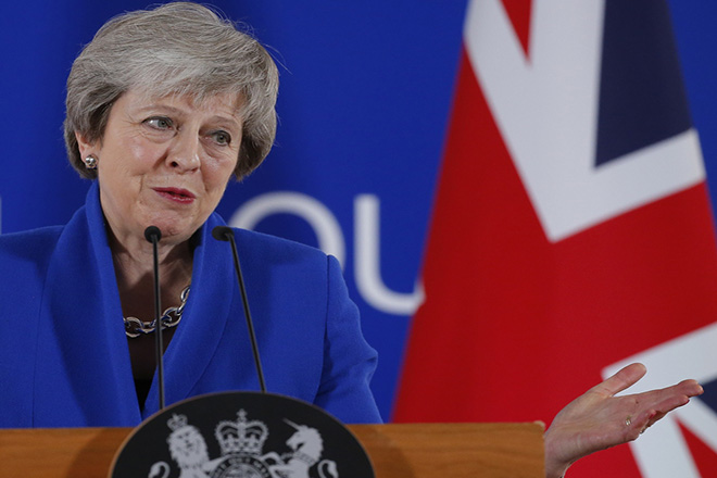 epa07189036 British Prime Minister Theresa May gives a press conference at the end of European council in Brussels, Belgium, 25 November 2018. The leaders of the 27 remaining EU member countries (EU27) have endorsed the draft Brexit withdrawal agreement and approved the draft political declaration on future EU-UK relations in a special meeting of the European Council on Britain leaving the EU under Article 50.  EPA/JULIEN WARNAND