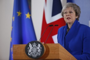epa07189035 British Prime Minister Theresa May gives a press conference at the end of European council in Brussels, Belgium, 25 November 2018. The leaders of the 27 remaining EU member countries (EU27) have endorsed the draft Brexit withdrawal agreement and approved the draft political declaration on future EU-UK relations in a special meeting of the European Council on Britain leaving the EU under Article 50.  EPA/JULIEN WARNAND