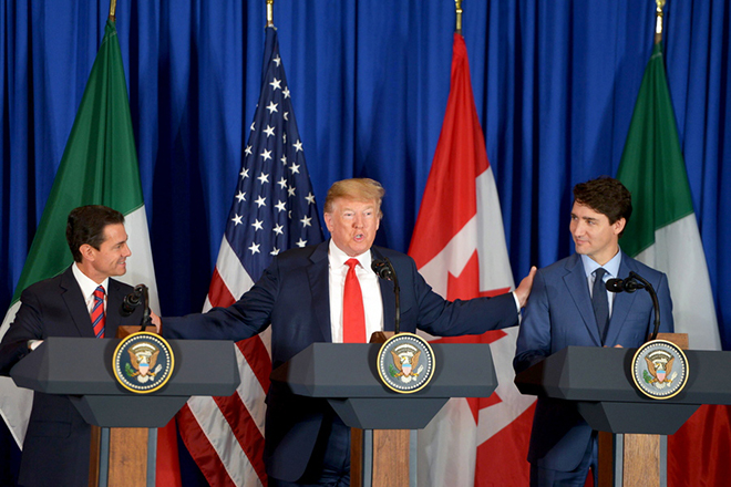 epa07199726 A handout photo made available by Mexico's Presidency shows Mexican President Enrique Pena Nieto (L), US President Donald J. Trump (C) and Prime Minister of Canada Justin Trudeau (R) as they participate in the signing of a trade agreement, in Buenos Aires, Argentina, 30 November 2018. The United States, Mexico and Canada signed the trade agreement known as T-MEC in Buenos Aires, which replaces the North American Free Trade Agreement (NAFTA), and which has yet to be ratified by the Congresses of the three North American countries. The G20 Summit brings together the heads of State or Government of the 20 largest economies and takes place from 30 November to 01 December 2018.  EPA/PRESIDENCY OF MEXICO / HANDOUT  HANDOUT EDITORIAL USE ONLY/NO SALES