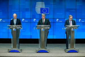 epa07207468 (L-R) Pierre Moscovici, the European Commissioner for Economic and Financial Affairs and Taxation, Mario Centeno, Eurogroup President Portuguese Finance Minister and Klaus Peter Regling, CEO of the European Financial Stability Facility (EFSF) and Managing Director of the European Stability Mechanism give a press conference at the end of an EU Eurogroup meeting at the European Council in Brussels, Belgium, 04 December 2018.  EPA/STEPHANIE LECOCQ