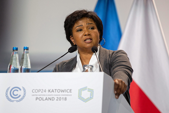 epa07207693 Former NASA Astronaut Mae Jemison delivers a speech during the COP24 summit in Katowice, Poland, 04 December 2018. The COP (Conference of the Parties) summit is the highest body of the UN Framework Convention on Climate Change (UNFCC). Expected at the meeting are close to 30,000 delegates from all over the world, including government leaders and ministers responsible for environmental policy.  EPA/HANNA BARDO POLAND OUT