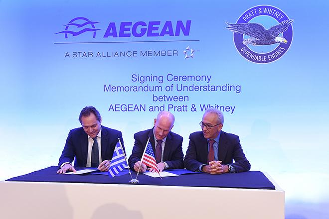 Έπεσαν οι υπογραφές των AEGEAN και Pratt & Whitney για τον εξοπλισμό αεροσκαφών Α320neo με κινητήρες GTF™