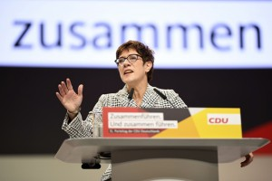 epa07214609 The candidate for the leadership of the German Christian Democratic Union (CDU), Annegret Kramp-Karrenbauer, holds her application speech, during the 31st Party Congress of the Christian Democratic Union (CDU) in Hamburg, Germany, 07 December 2018. At the party congress, a new party leader is to be elected. Associated with the new party leader is the debate over the fundamental political orientation of the CDU after Chancellor Merkel will no longer hold this office.  EPA/CLEMENS BILAN