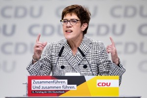 epa07214749 The candidate for the leadership of the German Christian Democratic Union (CDU), Annegret Kramp-Karrenbauer, holds her application speech during the 31st Party Congress of the Christian Democratic Union (CDU) in Hamburg, Germany, 07 December 2018. At the party congress, a new party leader is to be elected. Associated with the new party leader is the debate over the fundamental political orientation of the CDU after Chancellor Merkel will no longer hold this office.  EPA/HAYOUNG JEON