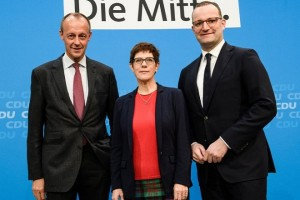 Mandatory Credit: Photo by CLEMENS BILAN/EPA-EFE/REX (9972356a) (L-R) The three candidates for the CDU leadership, Former Christian Democratic Union (CDU) faction leader Friedrich Merz, Christian Democratic Union (CDU) Secretary General Annegret Kramp-Karrenbauer and German Health Minister Jens Spahn pose for a photo after a media statement in Berlin, Germany, 09 November 2018. In order to present themselves, the three candidates for the CDU leadership, former Christian faction leader Friedrich Merz, Secretary General Annegret Kramp-Karrenbauer and Health Minister Jens Spahn, attended a meeting of the Women's Union of the CDU (Frauen Union der CDU). Candidates for CDU leadership attend meeting of Women's Union of the CDU, Berlin, Germany - 09 Nov 2018