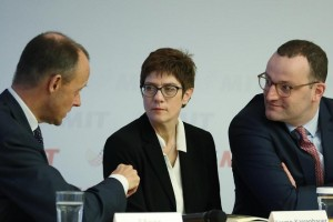 Mandatory Credit: Photo by CLEMENS BILAN/EPA-EFE/REX (9972356a) (L-R) The three candidates for the CDU leadership, Former Christian Democratic Union (CDU) faction leader Friedrich Merz, Christian Democratic Union (CDU) Secretary General Annegret Kramp-Karrenbauer and German Health Minister Jens Spahn pose for a photo after a media statement in Berlin, Germany, 09 November 2018. In order to present themselves, the three candidates for the CDU leadership, former Christian faction leader Friedrich Merz, Secretary General Annegret Kramp-Karrenbauer and Health Minister Jens Spahn, attended a meeting of the Women's Union of the CDU (Frauen Union der CDU). Candidates for CDU leadership attend meeting of Women's Union of the CDU, Berlin, Germany