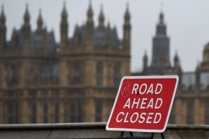 epa07209653 A road sign reading 'Road Ahead Closed' on Westminster Bridge in London, Britain, 05 December  2018. British Prime Minister Theresa May is holding five days of debate over Brexit at parliament hoping to persuade MPs to vote for her deal.  EPA/ANDY RAIN