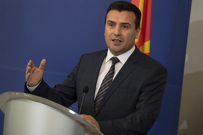 epa07166908 Macedonian Prime Minister Zoran Zaev speaks at a press conference during his official meeting with Bulgarian Prime Minister Boyko Borissov (not seen) in Sofia, Bulgaria, 15 November 2018. Macedonian Prime Minister Zaev arrived for an official visit to Sofia.  EPA/VASSIL DONEV