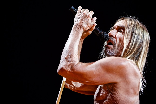 epa06863043 Rock singer Iggy Pop from the U.S. performs on the stage of the Auditorium Stravinski during the 52nd Montreux Jazz Festival, in Montreux, Switzerland, 03 July 2018 (issued 04 July). The event running from June 29 to July 14 will feature 380 concerts.  EPA/VALENTIN FLAURAUD       EDITORIAL USE ONLY  EDITORIAL USE ONLY  EDITORIAL USE ONLY