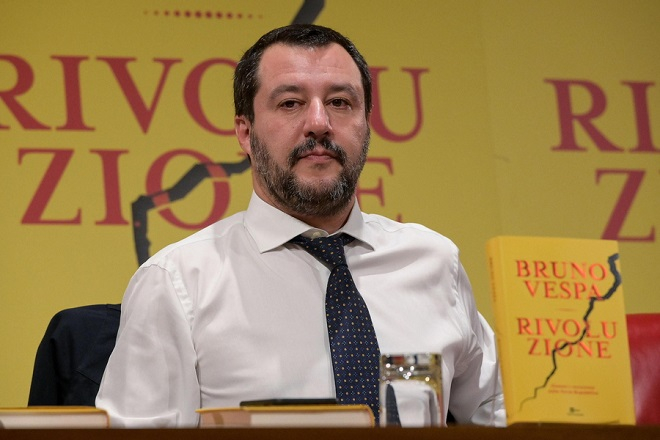 epa07208556 Italian Deputy Premier and Interior Minister, Matteo Salvini participates at the presentation of the book by Italian journalist Bruno Vespa, tittled 'Revolution - Men and the background of the Third Republic', in Rome, Italy, 04 december 2018.  EPA/ALESSANDRO DI MEO