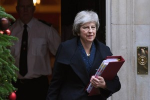 epa07225484 British Prime Minister Theresa May leaves 10 Downing street in London, Britain, 12 December 2018, to attend Prime Ministers Questions in the Houses of Parliament. Theresa May will face a challenge to her leadership on 12 December 2018 after 48 letters calling for a contest were delivered to the Chariman of the 1922 Committee. May will find out her future after Conservative Members of Parliament vote between 18:00 GMT and 20:00 GMT later in the evening.  EPA/ANDY RAIN