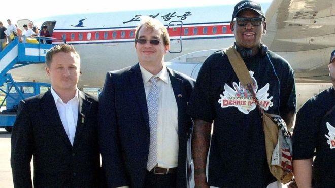 Michael Spavor (left) helped arrange ex-NBA star Dennis Rodman's trip to North Korea in 2013- afp