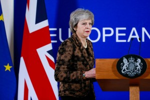 epa07231065 British Prime Minister Theresa May arrives to speak at a news conference at the end of the summit of EU leader in Brussels, Belgium, 14 December 2018. On the second day of summit EU leader again focussed on the conclusions on the Single Market, climate change, migration, disinformation, the fight against racism and xenophobia, and citizens' consultations.  EPA/STEPHANIE LECOCQ