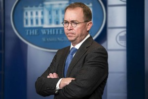 epa07231938 (FILE) - Director of the Office of Management and Budget Mick Mulvaney speaks to reporters outside the West Wing of the White House in Washington, DC, USA 19 January 2018 (reissued 14 December 2018). According to media reports on 14 December 2018, Trump has named Mulvaney as acting White House chief of staff.  EPA/JIM LO SCALZO