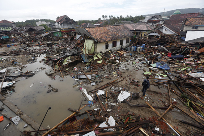 epa07247327 Debris is seen in a devastated area after a tsunami hit Sunda Strait in Sumur, Banten, Indonesia, 24 December 2018. According to the Indonesian National Board for Disaster Management (BNPB), at least 281 people died and 1,016 others have been injured after a tsunami hit the coastal regions of the Sunda Strait on 22 December.  EPA/ADI WEDA
