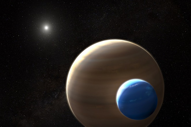 NASA-ESAand L Hustak This artist's impression depicts the exomoon candidate Kepler-1625b-i, the planet it is orbiting and the star in the centre of the star system. Kepler-1625b-i is the first exomoon candidate and, if confirmed, the first moon to be found outside the Solar System. Like many exoplanets, Kepler-1625b-i was discovered using the transit method. Exomoons are difficult to find because they are smaller than their companion planets, so their transit signal is weak, and their position in the system changes with each transit because of their orbit. This requires extensive modelling and data analysis.