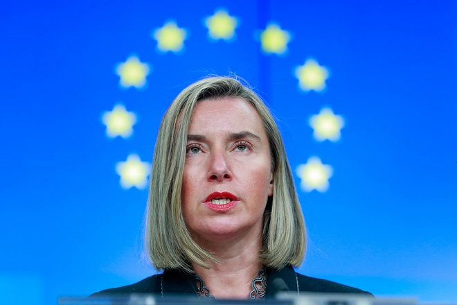 epaselect epa07237036 EU High Representative for Foreign Affairs and Security Policy Federica Mogherini gives a press conference with Prime Minister of Ukraine Volodymyr Groysman (not pictured) at the end of an EU-Ukraine association Council at the EU Council in Brussels, Belgium, 17 December 2018.  EPA/STEPHANIE LECOCQ