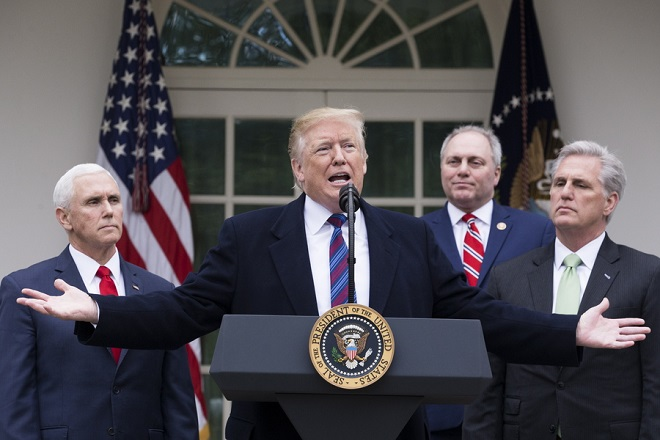 epaselect epa07262474 US President Donald J. Trump (C) holds a news conference beside US Vice President Mike Pence (L), Republican Representative from Louisiana Steve Scalise (2-R) and House Minority Leader Republican Kevin McCarthy (R) in the Rose Garden of the White House in Washington, DC, USA, 04 January 2019. President Trump discussed a variety of topics, particularly his meeting with Congressional Democratic and Republican leaders for negotiations on the ongoing partial shutdown of the federal government. A partial shutdown of the government continues since Congress and Trump failed to strike a deal on border security before a 22 December 2018 funding deadine.  EPA/MICHAEL REYNOLDS