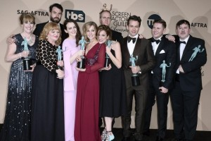 epaselect epa05136251 Members of the cast of 'Downton Abbey' pose with the SAG Award for 'Outstanding Performance by a Ensemble in a Drama Series' during the 22nd Annual Screen Actors Guild Awards ceremony at the Shrine Auditorium in Los Angeles, California, USA, 30 January 2016.  EPA/PAUL BUCK