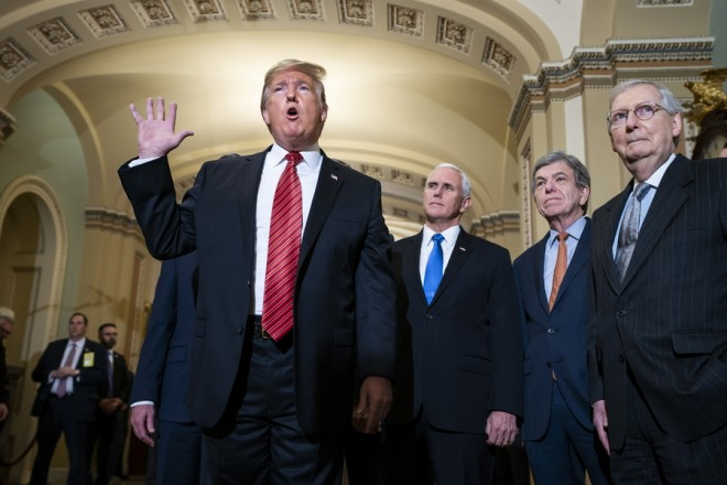 epa07271947 US President Donald J. Trump (L), along with Vice President Mike Pence (C-L), Senate Republican Roy Blunt (C-R), and Senate Majority Leader Mitch McConnell (R), speaks to the media after attending the Senate Republican policy luncheon in Washington, DC, USA, 09 January 2019. A partial shutdown of the US federal government continues since Congress and Trump failed to strike a deal before a 22 December 2018 funding deadline due to differences regarding border security. The partial shutdown, which has become the second-longest in US history, has affected about 800,000 federal workers.  EPA/JIM LO SCALZO